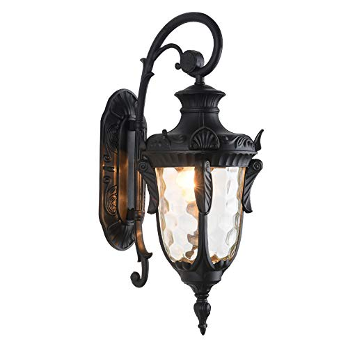 """LONEDRUID Outdoor Wall Light Fixtures Black 16.93""""H Exterior Wall Lantern Waterproof Sconce Porch Lights Wall Mount with Hammered Glass Shade for House, UL Listed"""