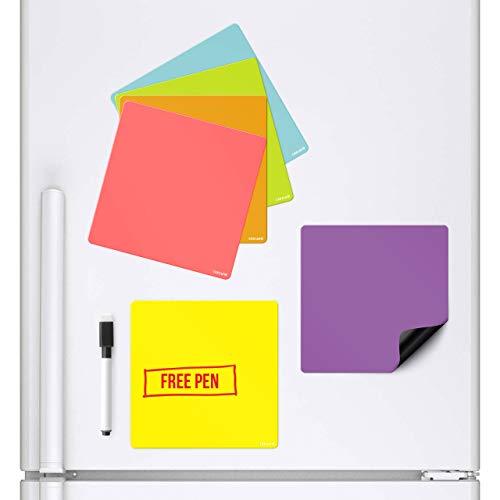 CKB Ltd Magnetische Whiteboards, die an Ihrem Kühlschrank kleben, trocken abwischbarer Planer, Magnetschild, mit Marker und Stift, Bunte Küchen-Notizen, große Tagesmenü, Einkaufs-to-Do-Liste, 6 Stück