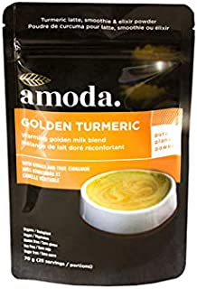 Golden Milk - Organic Golden Turmeric Ginger by Amoda. Golden Milk Powder + Turmeric Latte Powder + Turmeric Ginger Tea + Smoothie Powder. 70g/25 servings
