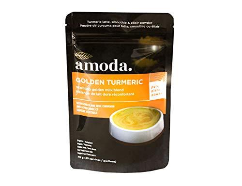 Golden Milk - Organic Golden Turmeric Ginger by Amoda. Golden Milk Powder + Turmeric Latte Powder + Turmeric Ginger Tea + Smoothie Powder. 70g/25 servings