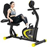 cycool Recumbent Exercise Bike, Magnetic Indoor Cycling Bike Stationary Bikes with Adjsutable Resistance and LCD Display For Home Cardio Workout (coal black)