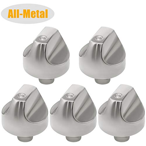WB03T10329 WB03X32194 Cooktop Range Burner Control Dial Knob Stainless Steel 5pack for Range Burner -Replace Part Number WB03X25889 AP5985157