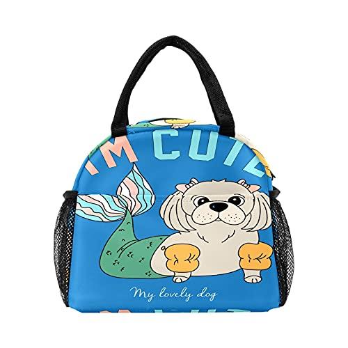Divertido perro con escala de sirena lindo bolso de almuerzo para mujer aislado personalizado reutilizable caja de almuerzo térmica enfriador bolsa para el trabajo picnic