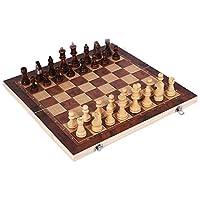 3 in 1クラシック木製チェス盤ゲーム、デラックスポータブル折りたたみチェスバックギャモンチェッカーセット、子供と大人のためのパズル教育ギフト、44 * 44cm