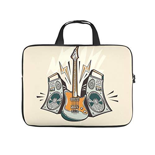 Rock und Roll Gitarre Musikinstrument 3D Druck Laptophülle Schutzhülle Leicht Neopren Laptop Tasche Hülle Tablet Tasche Sleeve Case für Freunde Familie White 17 Zoll