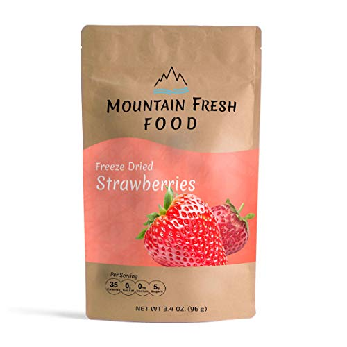 Mountain Fresh Food Freeze Dried Strawberry Chips | All Natural Healthy Dried Fruit Snacks | Crispy Strawberry Slices | Large Resealable Bag