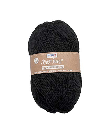 Glorex 5 1001 15 - Premium Wolle aus 100 % Acryl, leicht zu verarbeiten, vielseitig einsetzbar, wärmend, weich, nicht kratzend, 50 g, ca. 140 m, schwarz