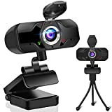 1080P HD Webcam with Microphone, Streaming Computer Web Camera USB PC Desktop Laptop Webcam with Stand/Privacy Cover/Tripod Stand, AutoFocus,Noise Reduction,Plug&Play for Video Calling/Zoom/Meeting