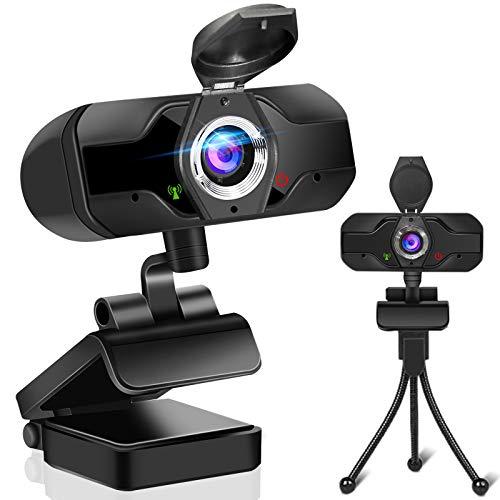 Webcam 1080P Full HD mit Stereo Mikrofon, USB 2.0 Streaming Webkamera mit automatisch Lichtkorrektur/Autofokus/Objektivdeckel für Laptop, Computer, PC, Skype, Videochat und Aufnahme, Konferenz