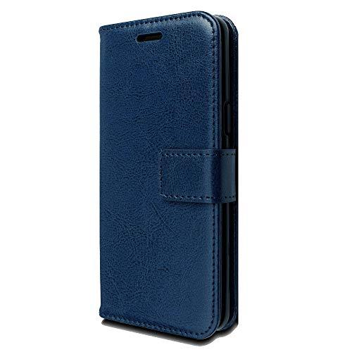 TECHGEAR Funda Galaxy S9 Plus - Carcasa Protectora de Cuero con Ranuras para Tarjetas, Soporte y Correa de muñeca - Cuero de PU Compatible con Samsung Galaxy S9 Plus (Azul)