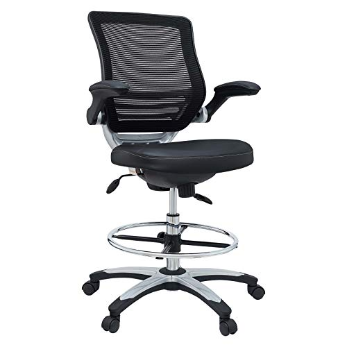 Modway Edge Drafting Chair - Reception Desk Chair - Flip-Up Arm Drafting Chair in Black