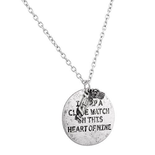 Lux Accessories I Keep A Close Watch On This Heart of Mine Gun Rose Flower Inspiration Necklace