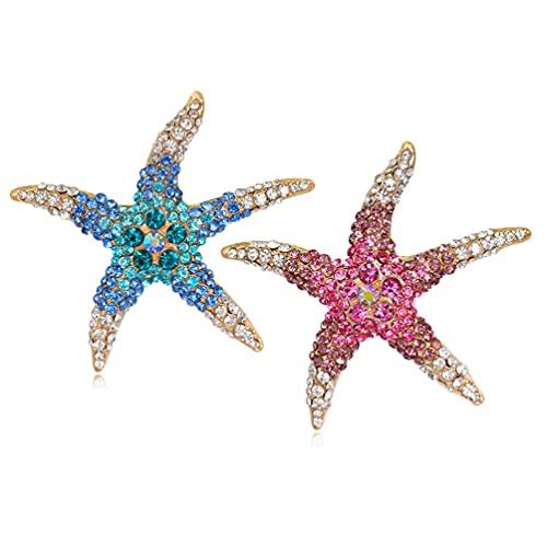 2 Pcs Crystal Rhinestone Starfish Brooch Pin Marine Animal Brooch for Dress Hat Decorations Ornaments (Blue, Rose)