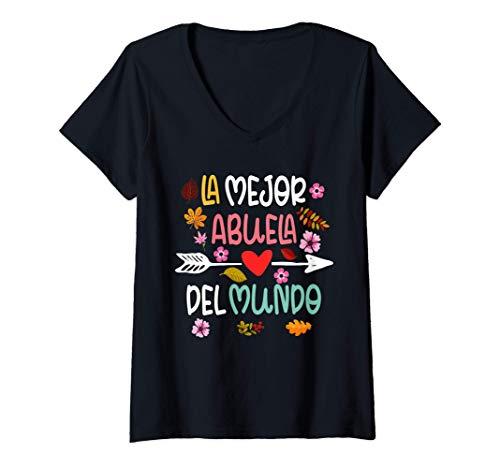Mujer La Mejor Abuela del Mundo Hispanic Grandma Mothers Day Gift Camiseta Cuello V