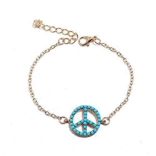 BaiXing Liebe Friedenssymbol Anhänger Armband Koreanische Version der Frau Perlen Armband Hip-Hop-Stil eingelegt