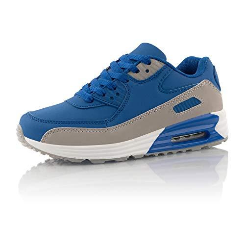 Fusskleidung® Damen Herren Sportschuhe Dämpfung Sneaker leichte Laufschuhe Blau EU 38
