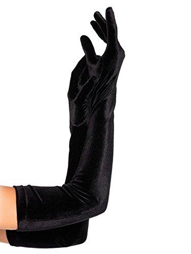 Samt Handschuhe lang schwarz