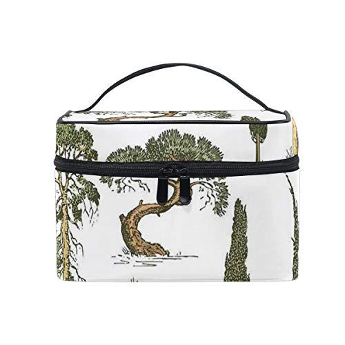 HARXISE Sac De Rangement pour Cosmétiques,Arbres dessinés à la Main pin Olive cyprès Sapin forêt Croissance écologie à l'extérieur,pour Cosmétique Trousse/Organisateur/Sac de Toilette