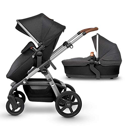 Silver Cross Wave Fully Adjustable 2-In-1 Tandem Baby Pram and Pushchair, Converts From Single to Double Buggy – Granite