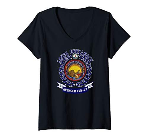 Womens USS George H W Bush CVN-77 Golden Shellback Patch Image V-Neck T-Shirt