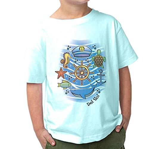 Del Sol DelSol – Camiseta para niños – Sea Adventure – Camiseta Que Cambia de Color – Cambios en la luz 100% algodón Peinado Preencogido – Se transforma de Blanco a Colores Brillantes – 3T – 1 Pieza