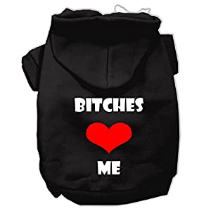 Mirage Pet Products 20″ Bitches Love Me Screen Print Pet Hoodie