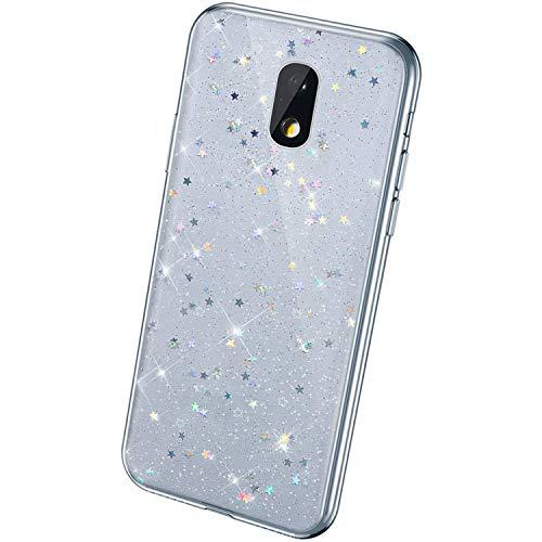 QPOLLY Coque Brillante Compatible avec Samsung Galaxy J5 2017, Paillettes Bling Glitter Coque Ultra Mince Transparent Silicone TPU Souple Gel Bumper Crystal Clear Antichoc Housse Étui,Noir*