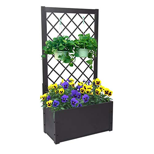 Free Standing Plant Raised Bed with Trellis Elevated Flower Bed for Hanging Flower Baskets Patio Garden Yard
