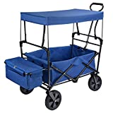 GreenWise Collapsible Canopy Folding Wagon Utility Cart Rubber Tire Garden Shopping Toy Cart