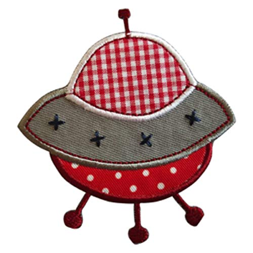 TrickyBoo 2 opstrijkbare UFO 7 x 7 cm rode ruiten ster 9 x 9 cm set patch applicaties voor het repareren van kinderkleding met design Zürich Zwitserland voor Duitsland en Oostenrijk