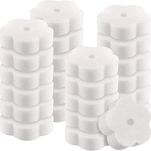 KAHEIGN 18 Stks Olie Absorberende Scum Sponges, Bloem Vormige Olie Spons Reiniging Gereedschap voor Hot Tub, Keuken, Badkamer en Thuis Gebruik (Wit)