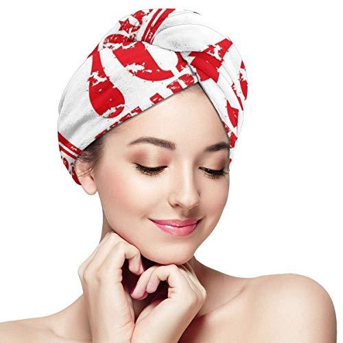 HomeLEE Quick Dry Haar Wrap Handdoeken Turban,70 Jaar Gefeliciteerd Symbool Icon Grunge Op zoek Stempel In Vintage Oude Ontwerp, Absorbent Douche Cap