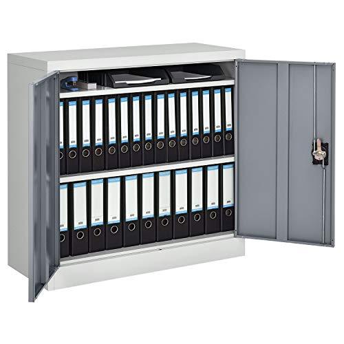 Juskys Metall Aktenschrank Office mit 2 Türen & 2 Einlegeböden | 90 x 90 cm | abschließbar | 2 Schlüssel | weiß – grau | Metallschrank Materialschrank