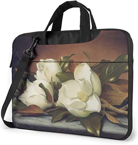 AOOEDM Estuche para bandolera con pintura de flores de magnolias gigantes, estuche multifuncional para portátil de 15,6 pulgadas con correa y cinturón