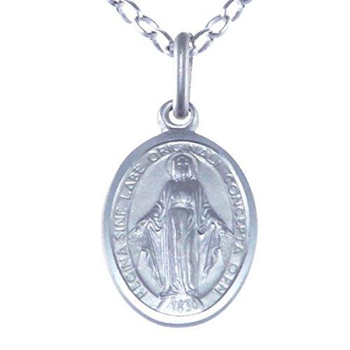 Medalla Colgante de Plata de Ley de la Virgen Milagrosa, con Cadena 18 pulgadas - 14 mm.