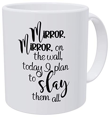 Mirror In The Wall, Work Birthday For Women and Boss Lady 350 ml, taza de café para mujer, graduación Awesome Woman Thank You, Beautiful For Women Mom Boss