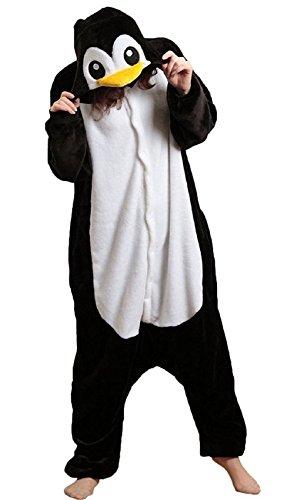 Canberries Damen Herren Tier Onesie Pyjama Schlafanzug Erwachsene Halloween Hai Dinosaurier Eule Zebra Kühe Panda Pinguin Waschbär Schwein Einhorn Cosplay Kostüm(Pinguin, M)