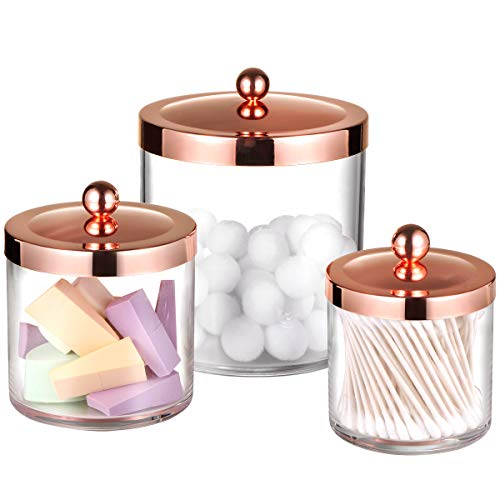 Premium Quality Apothecary Jars - Clear Plastic Storage Jars with Rust Proof Stainless Steel Lids - Bathroom Vanity Countertop Storage Organizer Canister Holder House Decor  Set of 3 Rose Gold