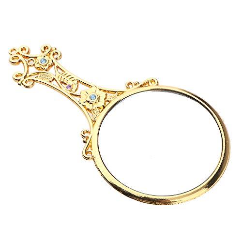 kowaku Espejo de Maquillaje de Mano Portátil de Bolsillo de Estilo Lolita Antiguo Regalo Fino - dorado