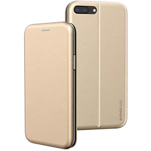 BYONDCASE iPhone 8 Plus Hülle Gold, iPhone 7 Plus Hülle [Deluxe Leder Flip-Case Klapphülle] Handyhülle iPhone 8/7 Plus Fullbody 360 Grad Rundumschutz kompatibel mit dem iPhone 8/7 Plus Case
