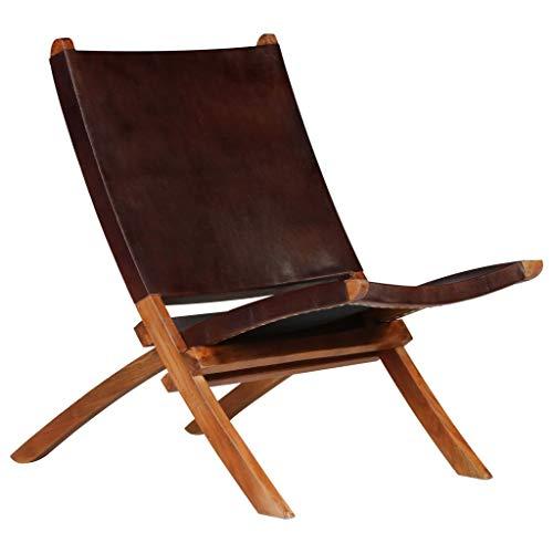 Festnight Chaises de Jardin en Bois Pliantes Chaise de Relaxation Pliable d'Extérieur en Cuir Marron 59 x 72 x 79 cm