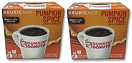 32 Count - Dunkin Donuts Pumpkin Flavored Coffee K-Cups For Keurig K Cup Brewers and 2.0 Brewers