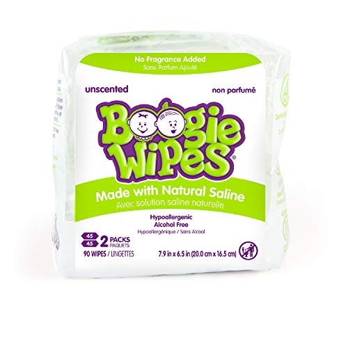 Baby Wipes Unscented by Boogie Wipes, Wet Wipes for Face, Hand, Body & Nose, Made with Vitamin E, Aloe, Chamomile and Natural Saline, 45 Count, Pack of 2