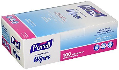 Purell 9022-10 Sanitizing Hand Wipes, Individually Wrapped (Pack of 100) (2 Boxes), Pack of 2, White, 2 Count