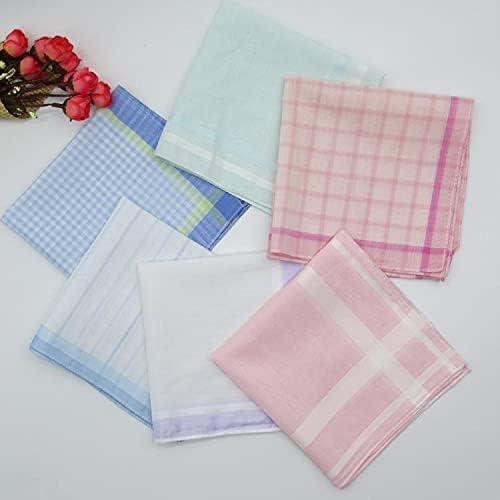 L2S 5pcs Pink Plaid Handkerchief Women Cotton 100 Ladies Handkerchiefs 28cm Pocket Square Geweven Mouchoir Femmes Zakdoek Hanky H21