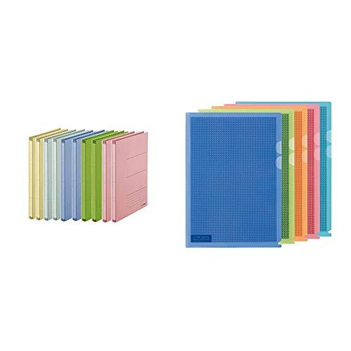 PLUS Japan, Zero Max Platzsparordner farbig sortiert, 10er Pack (1 x 10 Ordner) & Camouflage Sichtschutzhülle in verschiedenen Farben, 1er Pack (1 x 5 Hüllen)