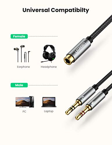 UGREEN Headphone Splitter for Computer 3.5mm Female to 2 Dual 3.5mm Male Headphone Mic Audio Y Splitter Cable Smartphone Headset to PC Adapter (Black)