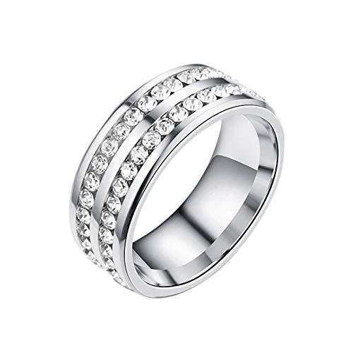 dailylime Anillo magnético Anillo de Diamante de Doble Fila de Diamante de Enfoque reducido de Acero Titanio Handsome