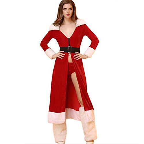 Mujer Navidad Disfraces Christmas Pijama Set4 Incluye: Camisón + Bragas + Cinturón + Manga Para Las Piernas