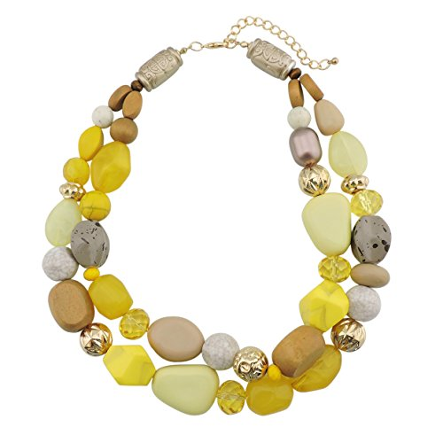 Bocar 2 Layer Statement Chunky Green Beaded Fashion Necklace for Women...